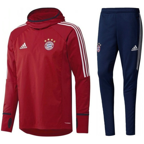 Survetement Football Bayern 20172018 Capuche Homme Rouge