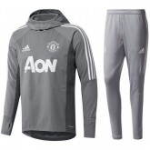 Nouveau Survetement Football Manchester United 2017/2018 Capuche Homme Gris