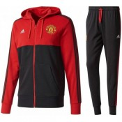 Survetement Football Manchester United 2017/2018 Capuche Homme Noir-Rouge Nouvelle