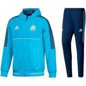 Survetement Football OM Marseille 2017/2018 Capuche Homme Cyan Rabais en ligne