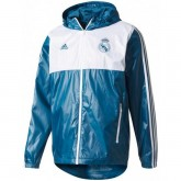 Vente Veste Foot Real Madrid 2017/2018 Coupe Vent Homme Bleu-Blanc