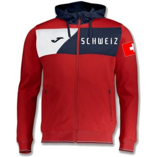 Veste Survetement Suisse 2018/2019 Capuche Homme Rouge Officiel